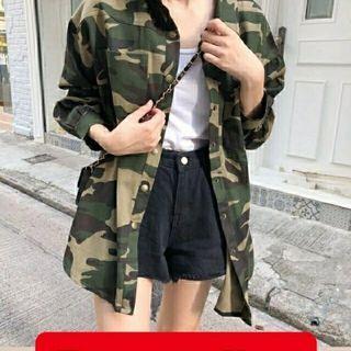 Ec Army Outer l atasan fashion baju kemeja army wanita