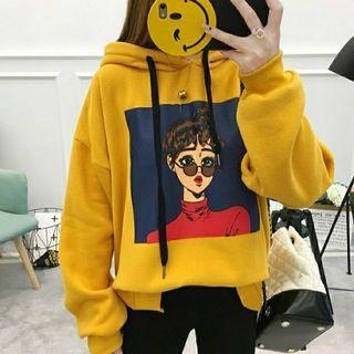 Ec SWEATER FACE GIRL HITAM l atasan fashion baju jaket hoodie wanita