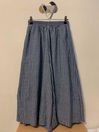 棉麻直條紋褲裙   日系 森林系