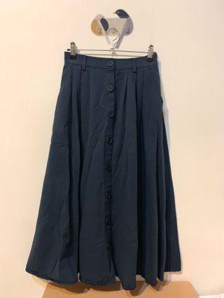 厚磅排扣裙 深藍  日系 森林系