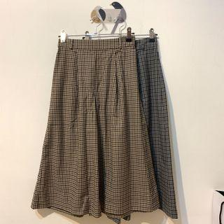 GU 復古格紋褲裙S 灰色/奶茶色  日系 Uniqlo muji