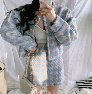 【黑殿】時尚小香風藍色千鳥格套裝 復古時尚千鳥格西裝外套+短裙套裝 針織小香風套裝 時尚氣質復古千鳥格套裝 ZG231