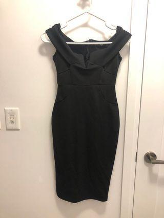 Missguided Black Off the Shoulder Semi Formal Dress