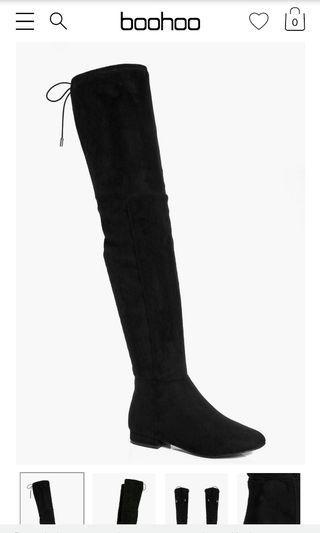 Thigh high boohoo boots