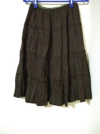 皺摺鬆緊腰長裙