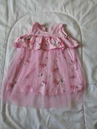 Pink floral tutu off shoulder dress