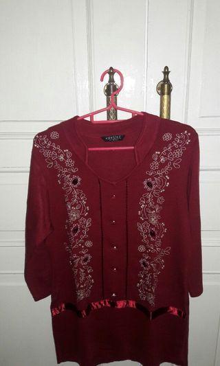 Baju Katun Rajut Wanita Warna Merah Branded KRYSTLE SCALA (Woman Red Branded Clothes by KRYSTLE by SCALA)