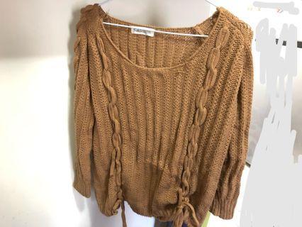 🎀扭結蝴蝶結針織毛衣 咖啡色