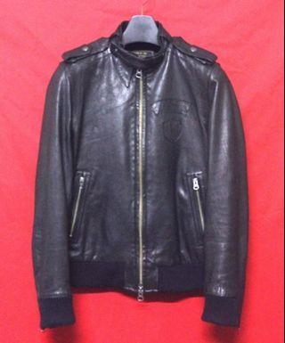 日本品牌291295=HOMME 頂級高檔窄版立領羊皮騎士皮衣 真皮