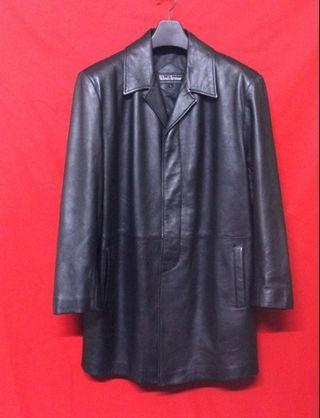 日本品牌WIND ARMOR 頂級高檔柔軟羊皮簡約素面百褡紳士短大衣 真皮