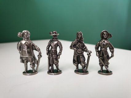 Three Musketeers and D'Artagnan Metal figurines / Toy Soldiers