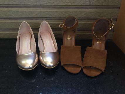 Ann's金色圓頭婚鞋高跟鞋/質感咖啡色涼鞋女鞋