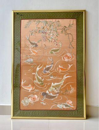 Antique Chinese embroidered fishes