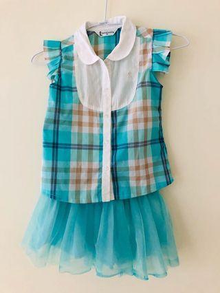 湖水綠格紋上衣澎裙(95A)