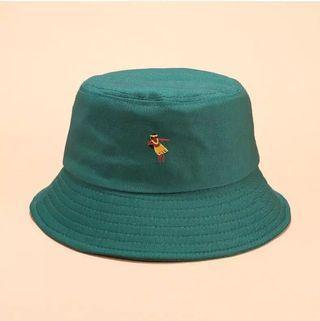 #1111special NEW Topi hawaii hijau cartoon moana bucket hat green bordered bordery hula hoop women dancing
