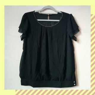 #1111special blouse atasan wanita hitam / black casual blouse