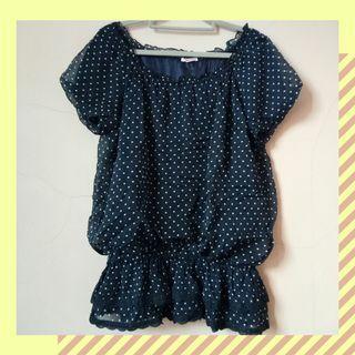 #1111special blouse polkadot atasan wanita navy