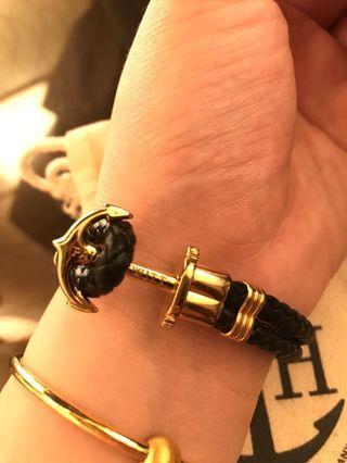 P ⚓️H 黑色金 皮革編織手環(男)