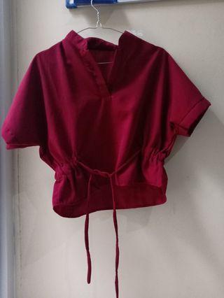 Baju maroon atasan kantor
