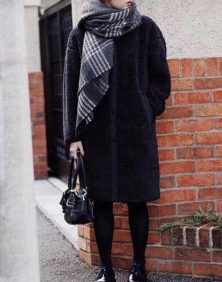 OshareGirl 11 日系女士簡約圓領仿羊絨外套夾克長版外套