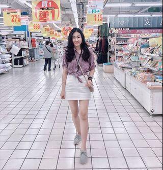 紫色短袖格紋襯衫#剁手時尚