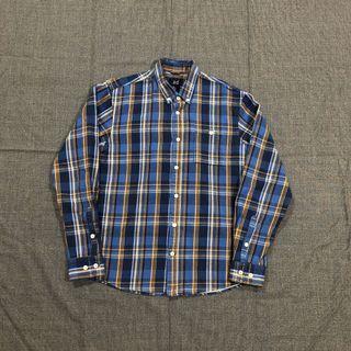 Ad-lib藍黃格紋襯衫(M)
