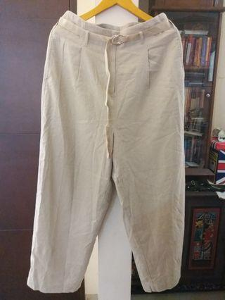 Cream linen loose pants with belt #1111special