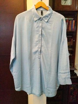 Zara blue soft denim oversized blouse #1111special