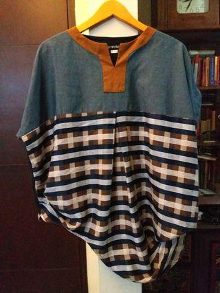 Oline Workrobe blue brown plaid blouse #1111special