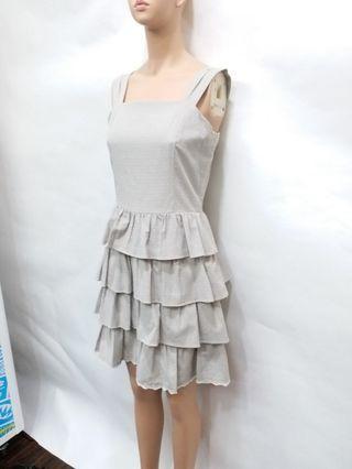 專櫃品牌 淺灰色洋裝 露肩洋裝 蛋糕裙洋裝