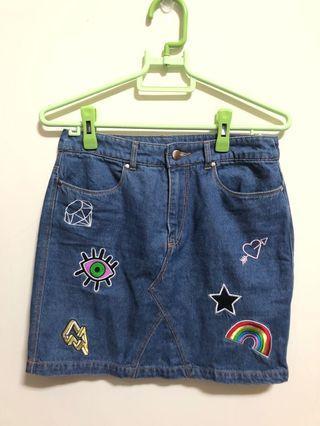 H&M 童趣塗鴉牛仔短裙