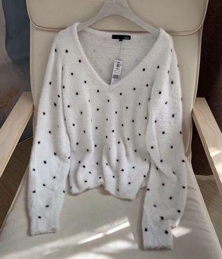 OshareGirl 11 歐美女士經典黑白點V領長袖針織衫毛衣