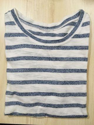 藍白水手色橫條短袖上衣 #剁手時尚