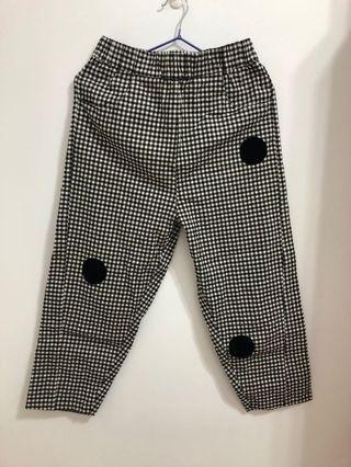 Pinkoi 設計師品牌 黑白格點點拼布長褲