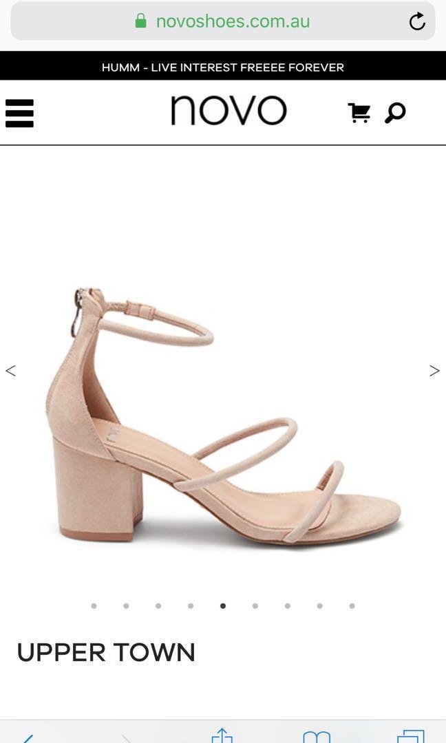 3 strap nude heels