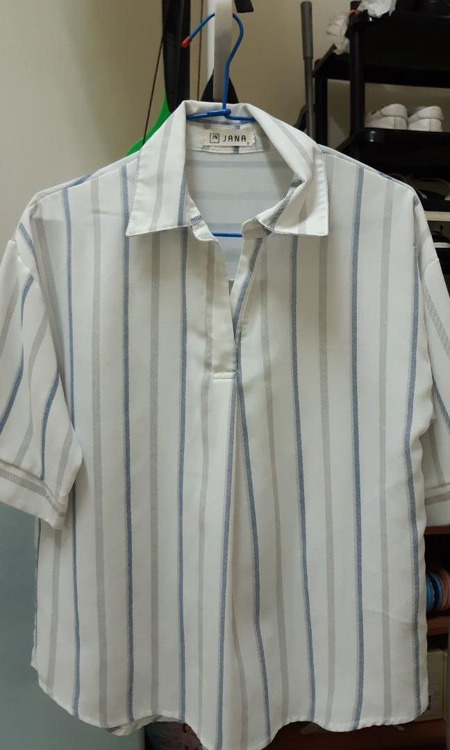 藍色條紋五分袖休閒襯衫