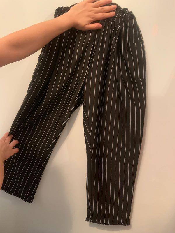 七分闊腳褲 返工黑直條褲