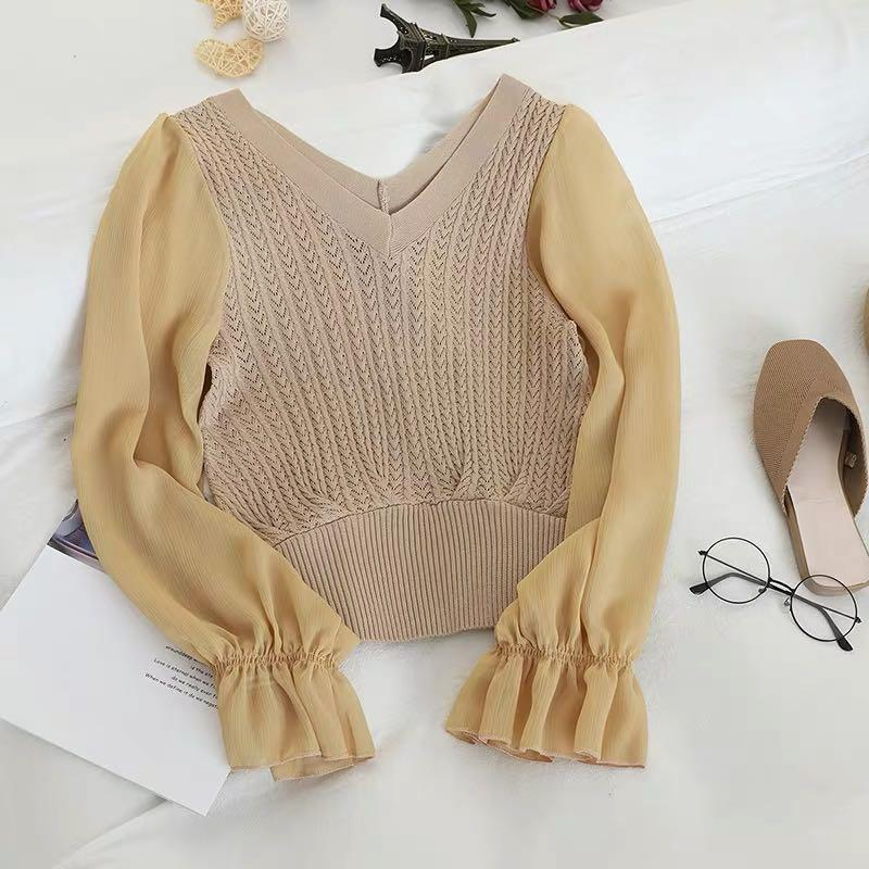 Arrow Knit Flare Sleeves Top