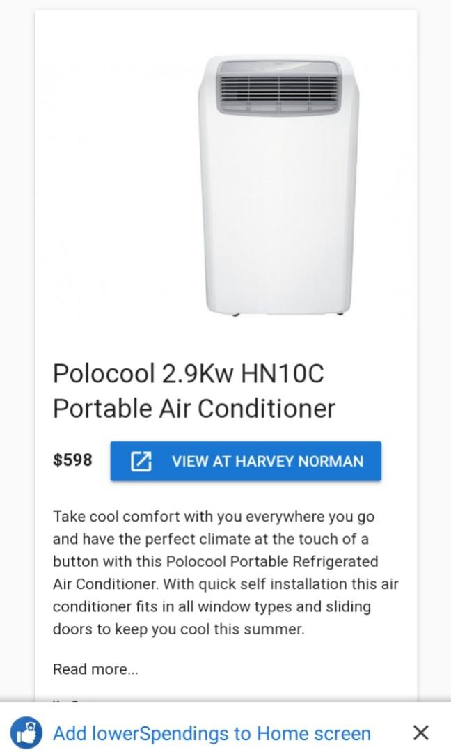 As new Portable 10,000 BTU polo cool refrigerated A/C. Retail price is $598