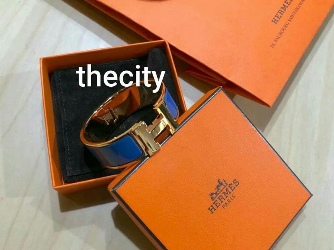 AUTHENTIC HERMES CLIC CLAC H BRACELET , PM - BLUE & GOLD COLOR - GOOD CONDITION -