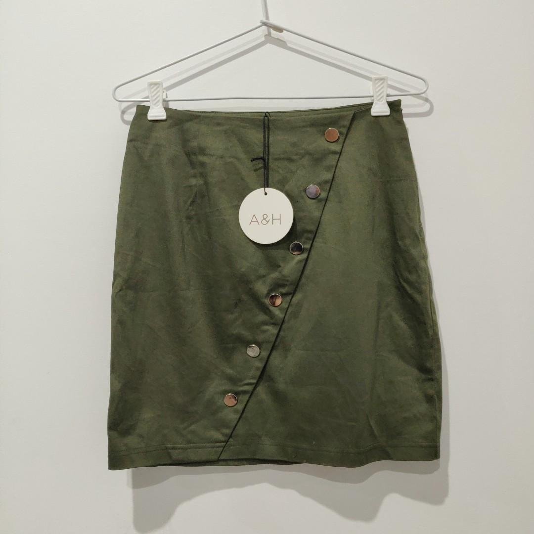 BNWT Atmos&Here Khaki Laura Asymmetric Skirt AU Size 8