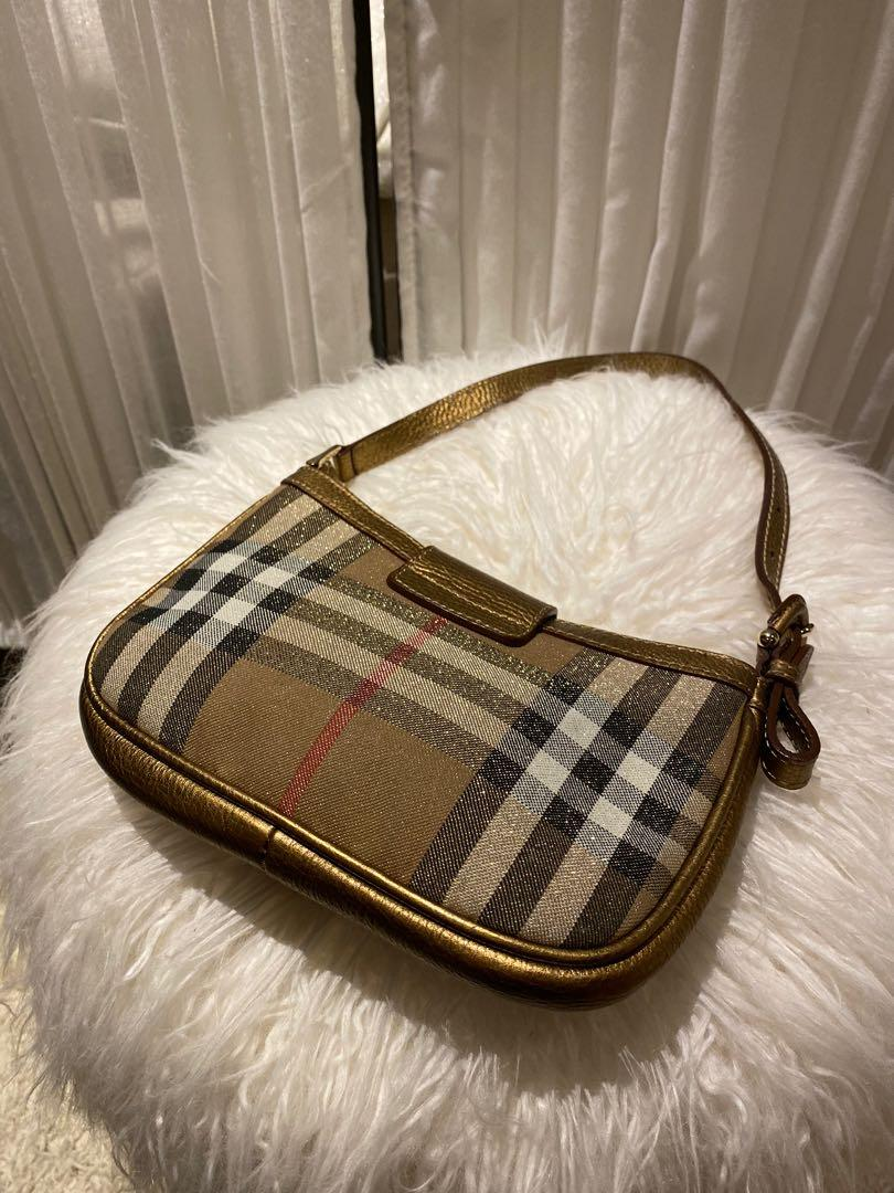 Burberry Gold Shimmer Check Degrade Mini Shoulder Bag