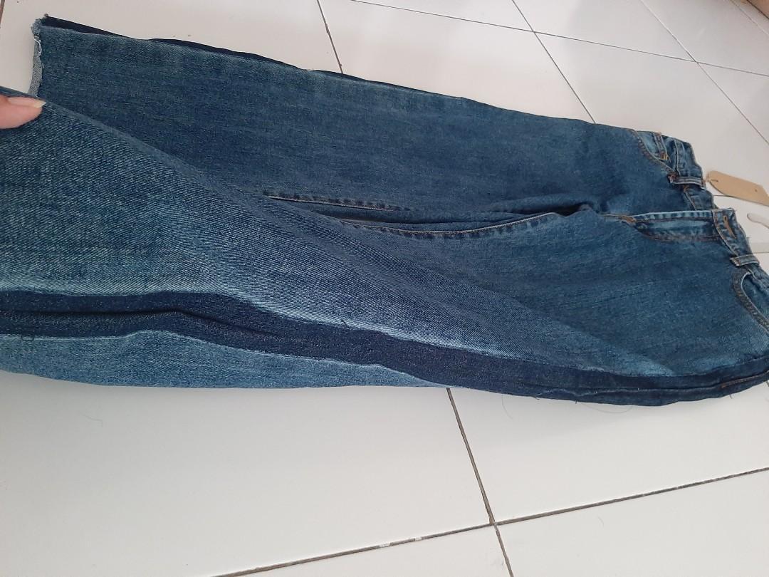 Celana Jeans Kulot Two Tone