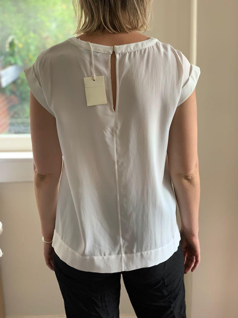 Country road - white silk/viscose cap sleeve blouse