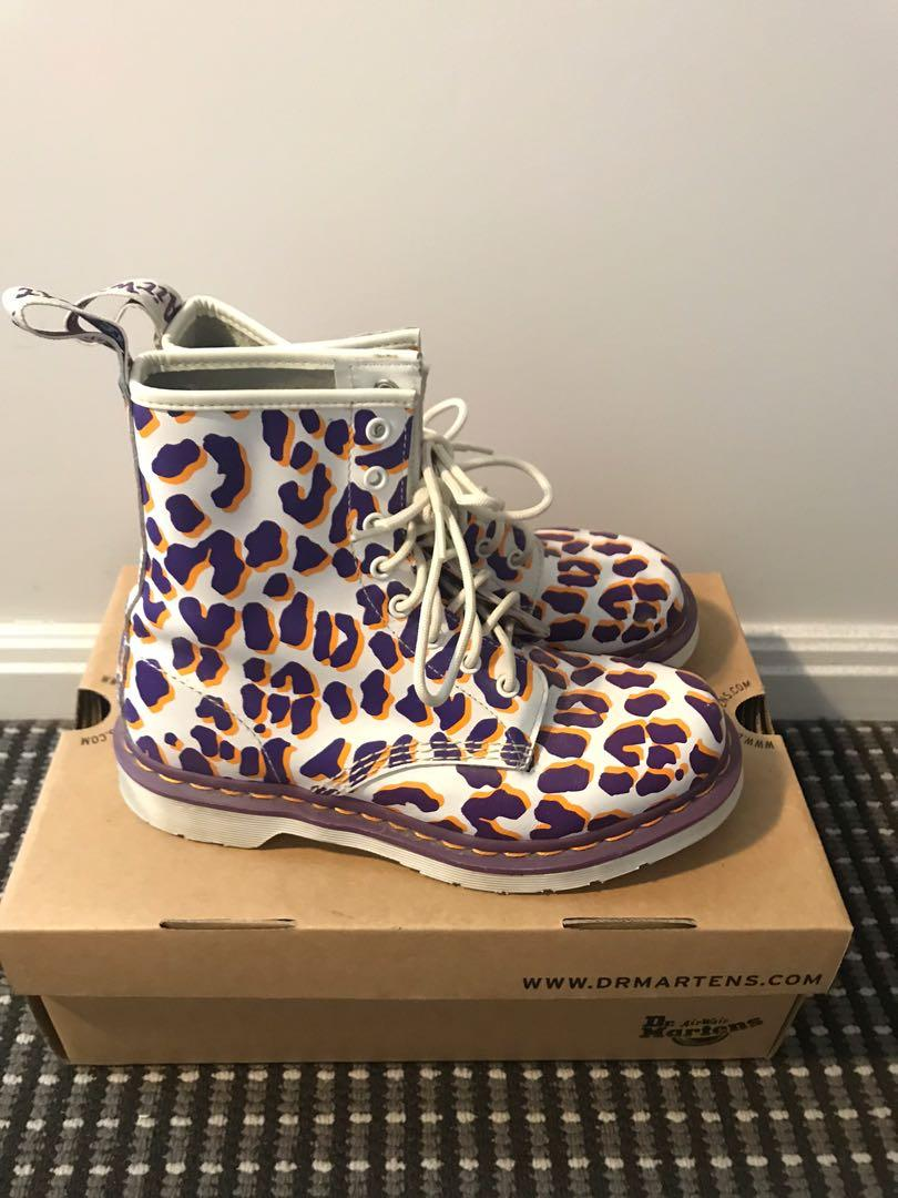 Dr Martens - 1460 6 Eye Shoe in White, Purple and Orange Leopard