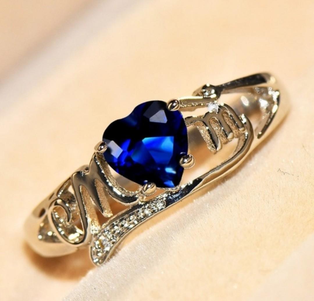 Exquisite Heart Cut Blue Sapphire Heart Shape 925 SS Womens Ring