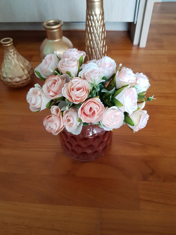 Faux artificial flower arrangement with pink vase / home / wedding decoration/ solemnisation/ rom