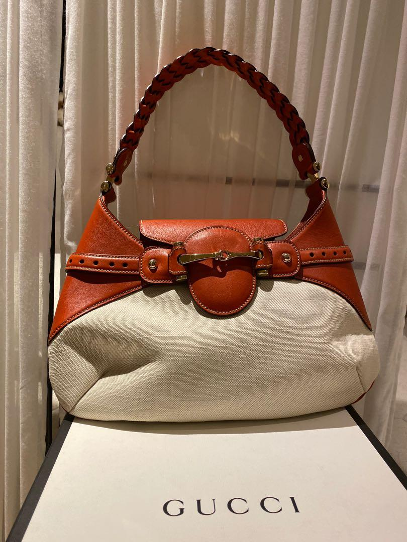 Gucci Ivory Canvas with Horsebit & Braided Strap Hobo Bag