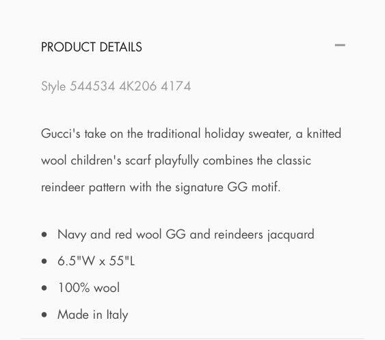 Gucci kids wool scarf - 95% NEW with receipt
