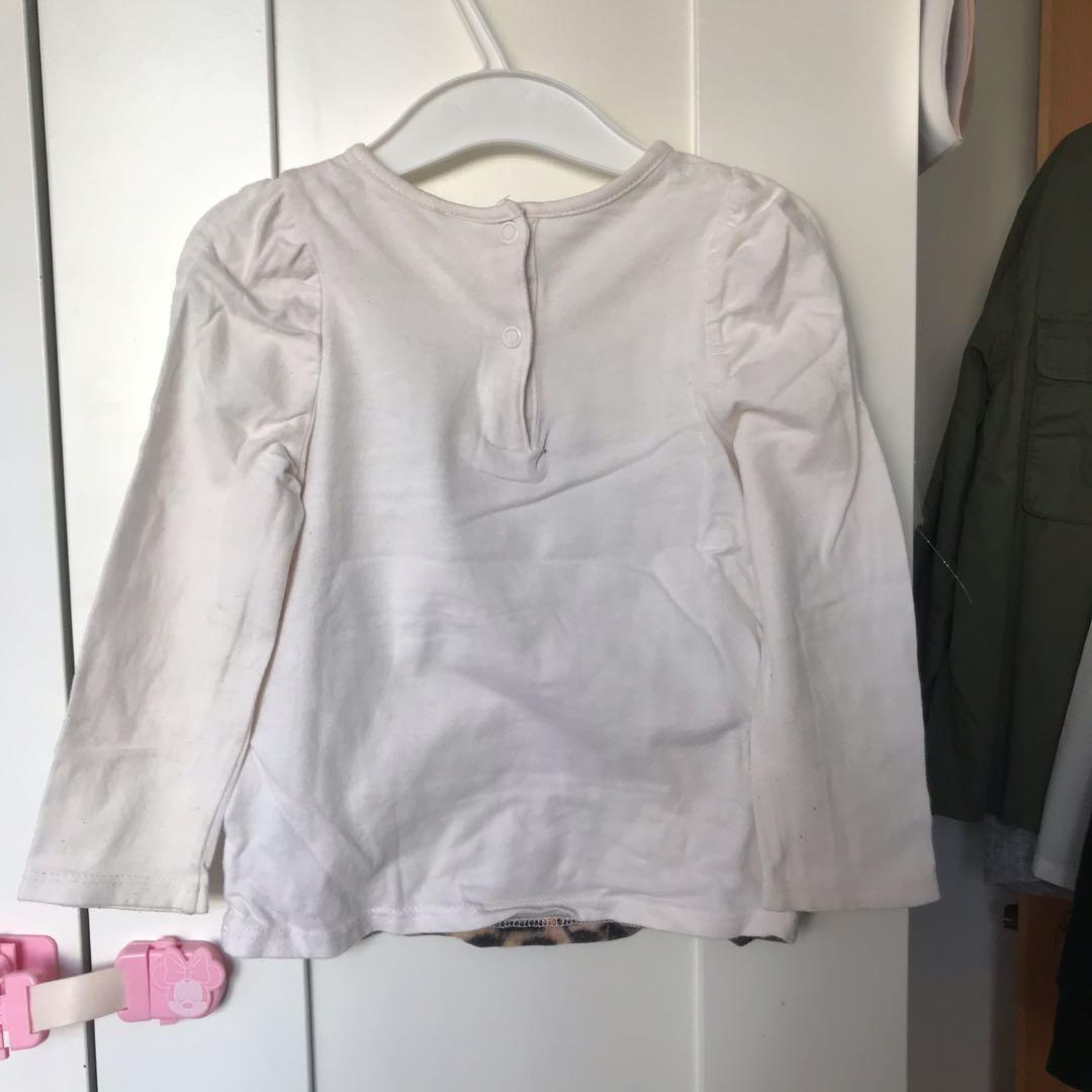 H&M 女童 動物 豹 泡泡袖 長袖衫 SIZE86 12-18M